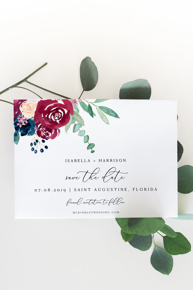 Bella - Marsala Floral Wedding Save the Date Template - Unmeasured Events
