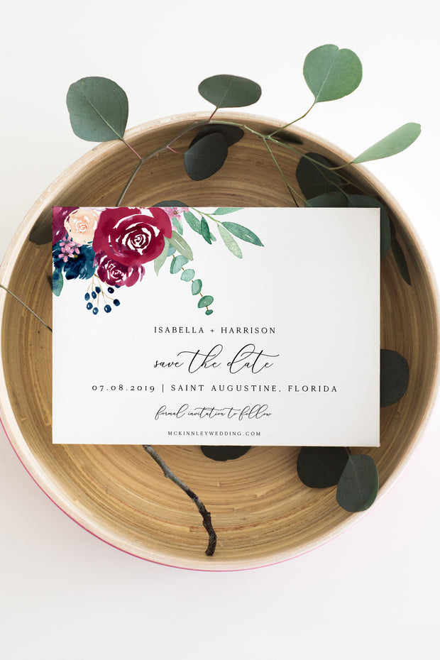 Bella - Marsala Floral Wedding Save the Date Template