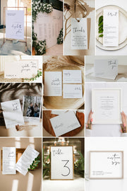 ADELLA Modern Minimalist Printable Wedding Invitation Template Bundle