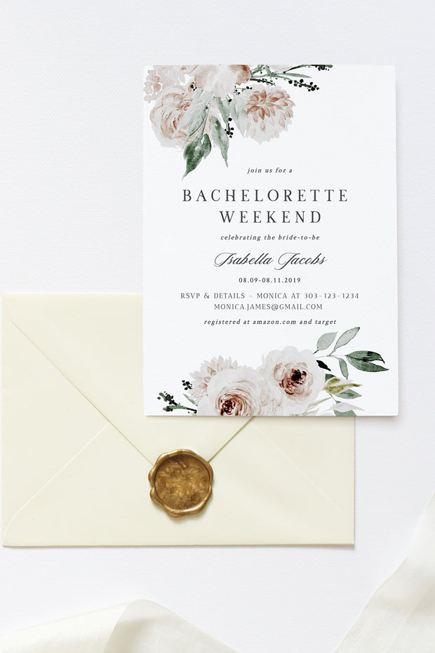 Robyn - Blush Floral Bachelorette Invitation and Itinerary Template - Unmeasured Events
