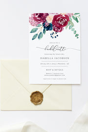 Bella - Marsala Floral Bachelorette Invitation Template - Unmeasured Events