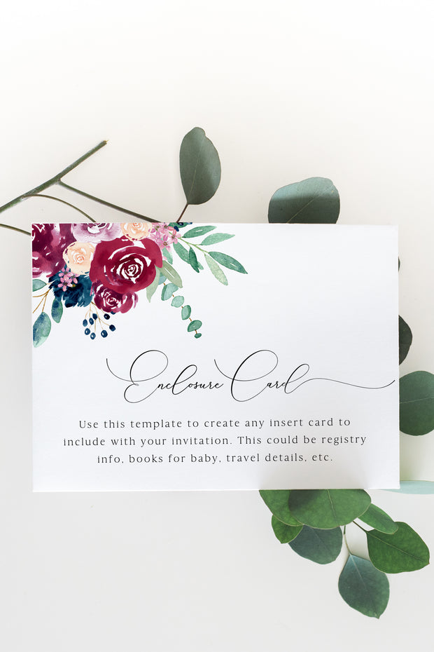 Bella - Marsala Floral Wedding Enclosure Card Template - Unmeasured Events
