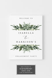 Lana - Modern Greenery Engagement Welcome Sign Template