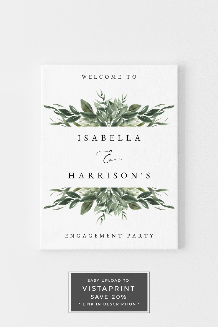 Lana - Modern Greenery Engagement Welcome Sign Template - Unmeasured Events