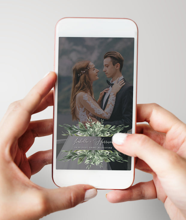 Lana - Modern Greenery Wedding Snapchat Filter Template - Unmeasured Events