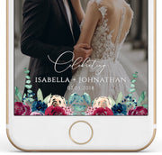 Bella - Marsala Floral Wedding Snapchat Geofilter Template - Unmeasured Events