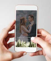 Jenna - Rustic Pine Tree Wedding Snapchat Filter Template - Unmeasured Events