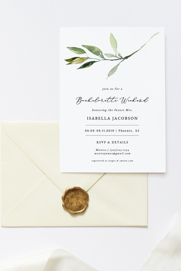 Isabella - Minimal Greenery Bachelorette Invitation & Itinerary Template - Unmeasured Events