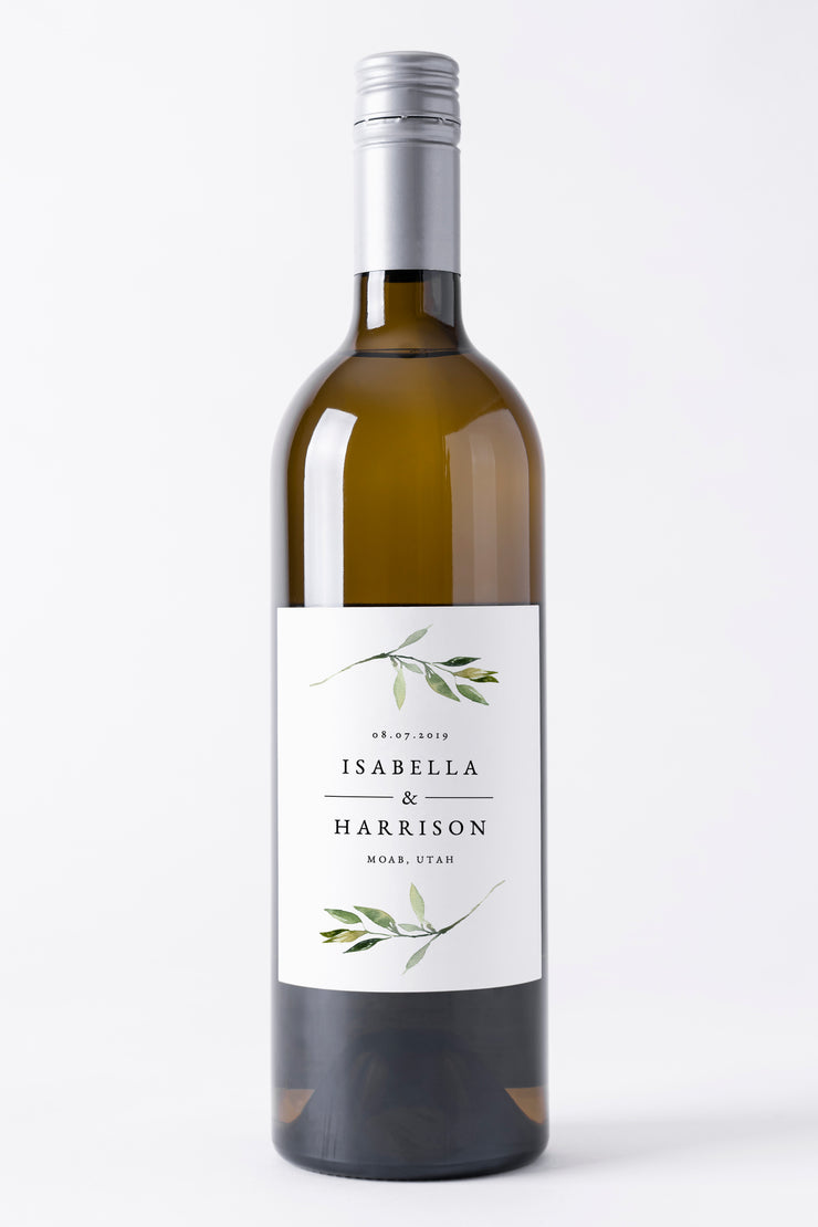 Isabella - Minimal Greenery Wedding Wine Label Template - Unmeasured Events