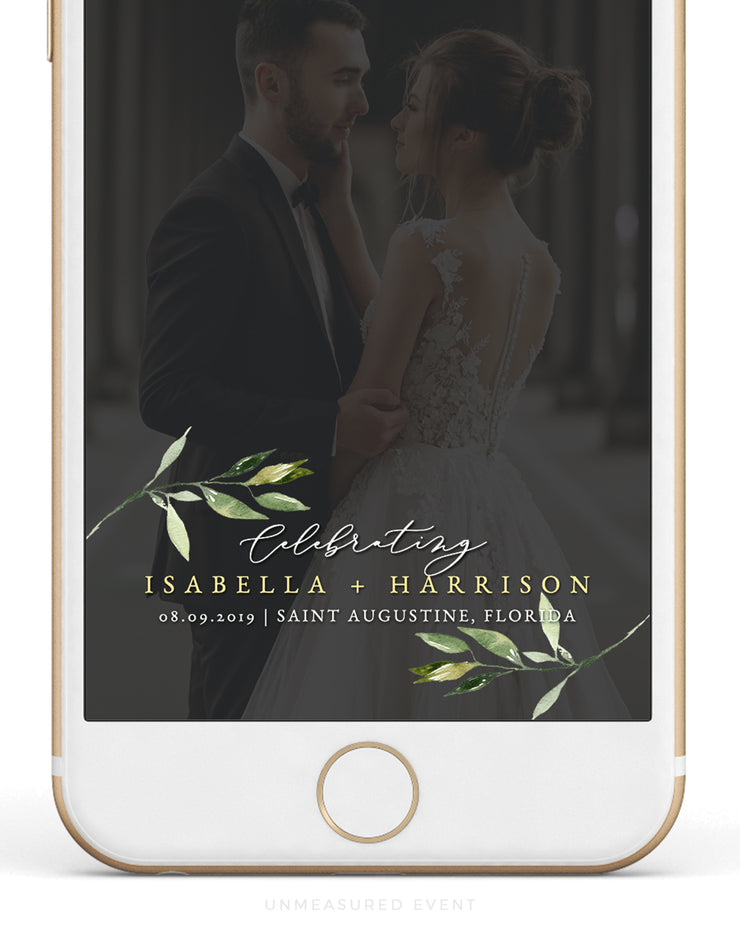 Isabella - Minimal Greenery Wedding Snapchat Filter Template - Unmeasured Events