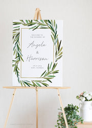JUNIPER | Rosemary Greenery and Gold Wedding Welcome Sign Template