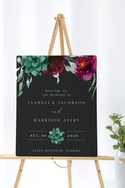 Amy - Burgundy Floral and Succulent Wedding Welcome Sign Template