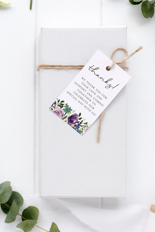 OLIVIA | Purple Floral and Succulent Printable Favor Tag Template