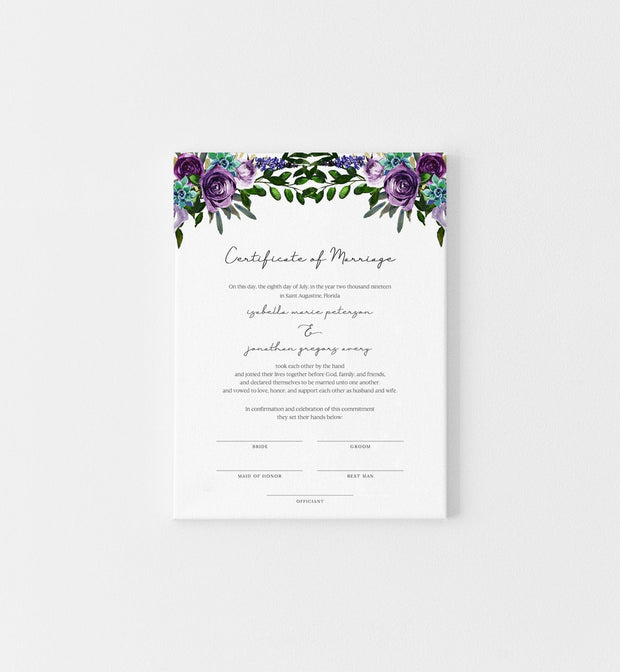OLIVIA | Purple Floral and Succulent Printable Marriage Certificate Template