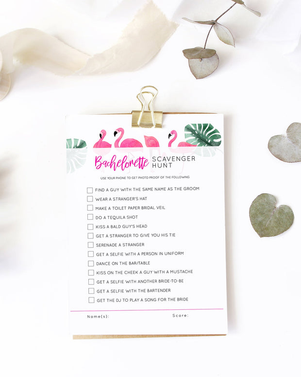OAKLEY | Flamingo Bachelorette Scavenger Hunt Printable Template