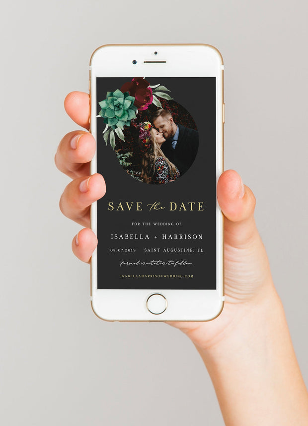 Amy - Burgundy Floral and Succulent Wedding Text Save the Date Template