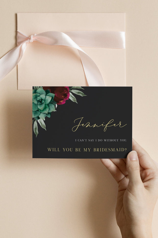 Amy - Burgundy Floral and Succulent Bridesmaid Proposal Card Template