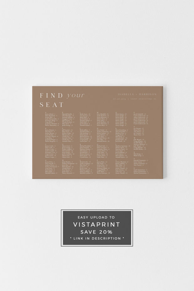 Mia - Earth Tone Desert Wedding Alphabetical Seating Chart Template - Unmeasured Events