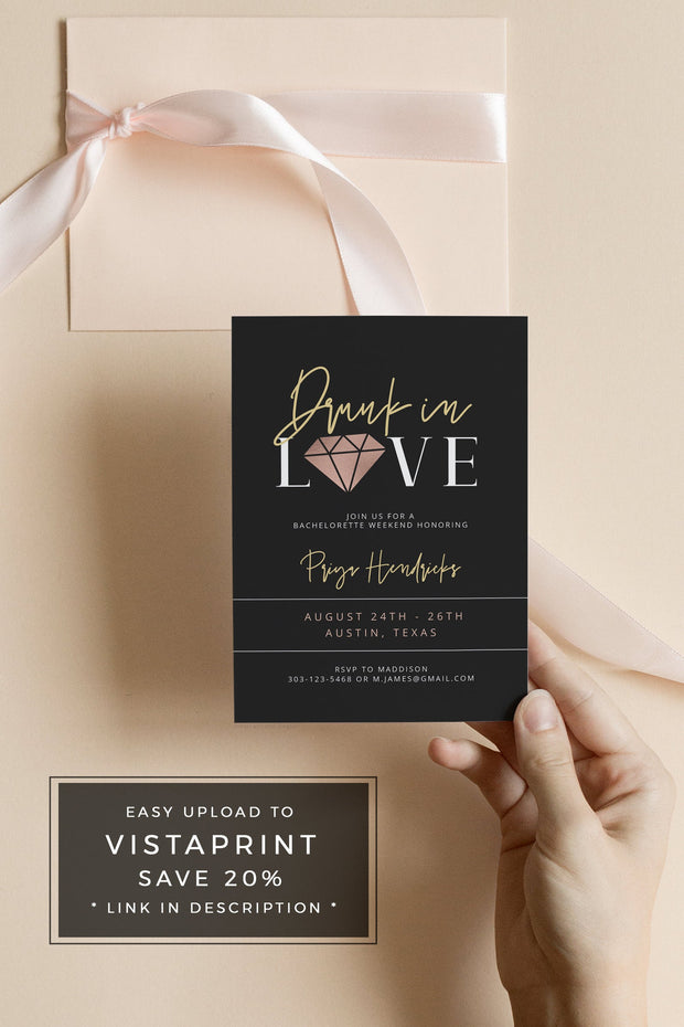 KIRA | Rose Gold and Black Drunk In Love Bachelorette Invitation & Itinerary Template