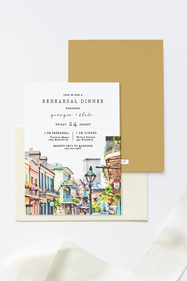 NOLA | Watercolor New Orleans French Quarter Printable Rehearsal Dinner Invitation Template