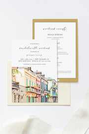 NOLA | Watercolor New Orleans French Quarter Bachelorette Invitation & Itinerary Template