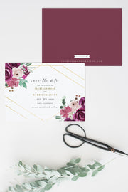 GWEN | Elegant Magenta and Blush Floral Printable Save the Date Template