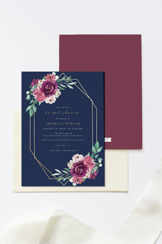 GWEN | Elegant Magenta and Blush Floral Printable Bridal Shower Invitation Template