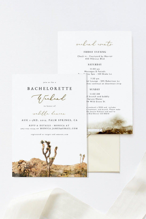 GRETA | Watercolor Joshua Tree Bachelorette Invitation & Itinerary Template