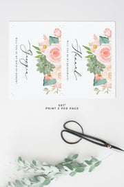 FINLEY | Rustic Peach Floral & Succulent Bridesmaid Proposal Template