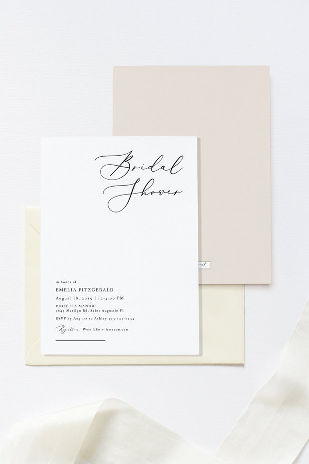 EVELYN | Elegant Modern Minimalist Printable Bridal Shower Invitation Template