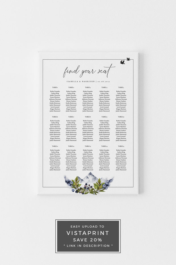 SIERRA | Boho Mountain Printable Seating Chart Template