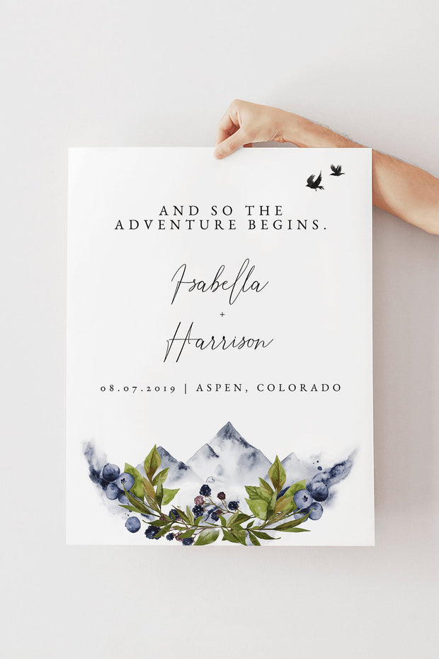 SIERRA | Boho Mountain Printable Wedding Welcome Sign Template
