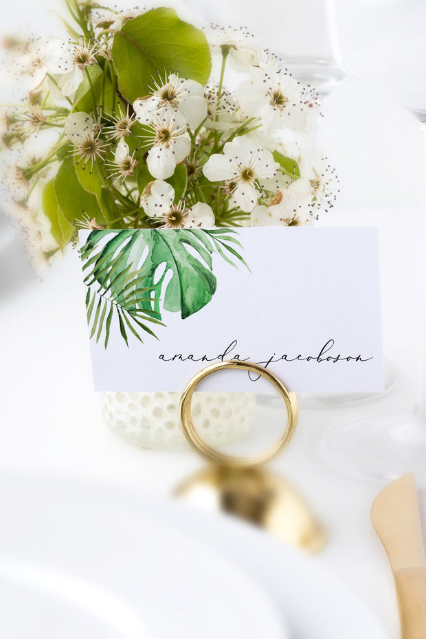 Cora - Modern Palm Tropical Place Card Template
