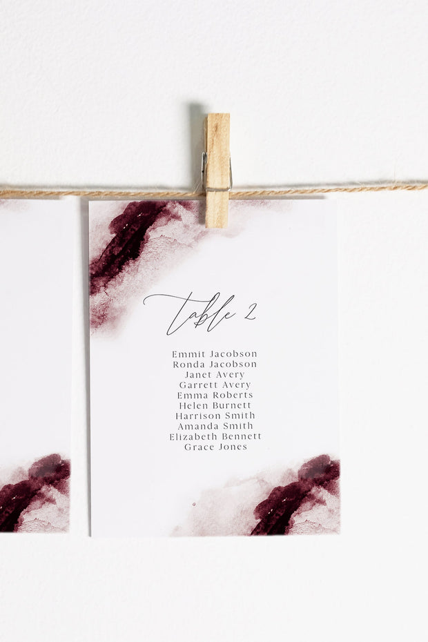 SCARLETT | Abstract Burgundy Watercolor Printable Seating Chart Cards Template