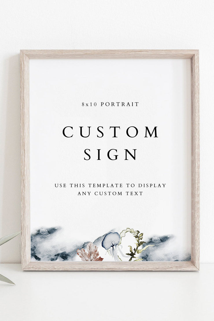 "ALANA | Modern Beach Wedding 8x10"" Custom Sign Template"