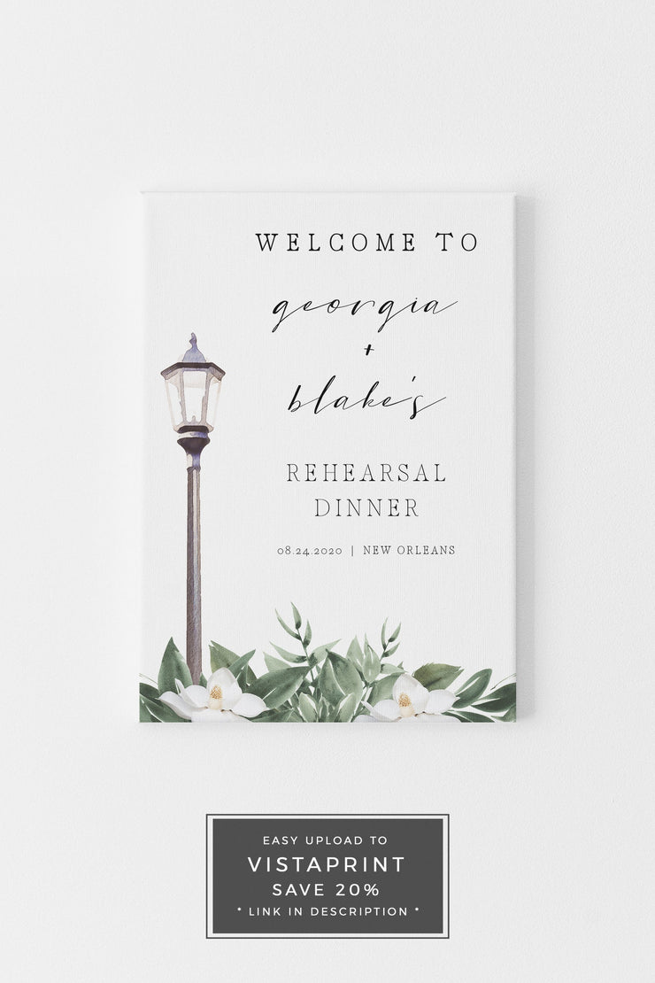 NOLA | Watercolor Magnolia New Orleans Bourbon Street Inspired Printable Rehearsal Dinner Welcome Sign Template