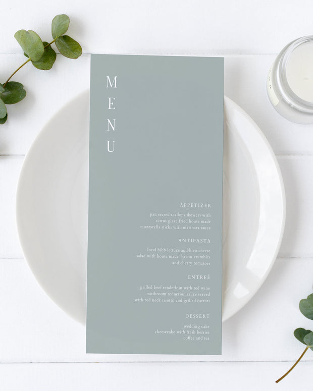 NINA | Minimalist Sage Green Bohemian Printable Wedding Menu Template