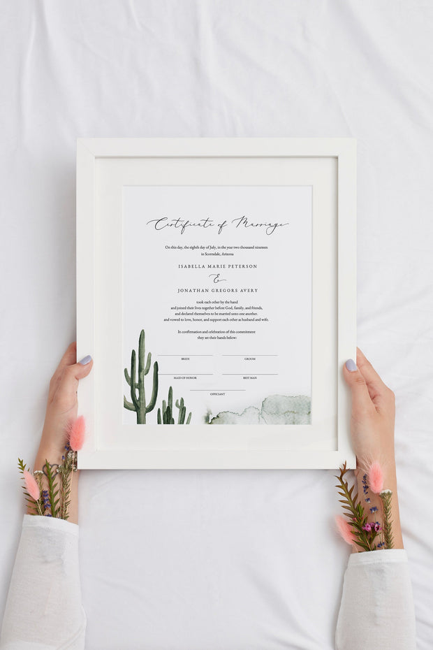Eleanor - Bohemian Cactus Wedding Marriage Certificate Template - Unmeasured Events