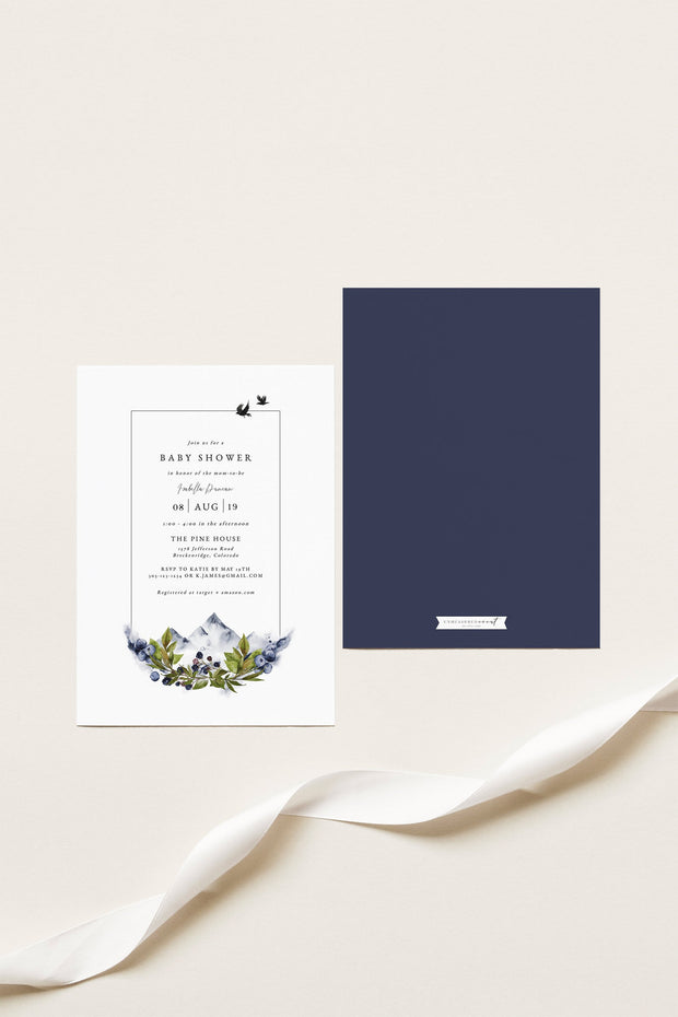 SIERRA | Modern Minimal Mountain Printable Baby Shower Invitation Template