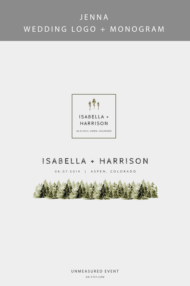 JENNA | Rustic Pine Tree Wedding Logo & Monogram Template