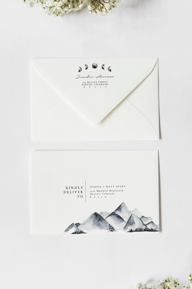 DENALI | Bohemian Mountain & Moon Printable Envelope Addressing Template
