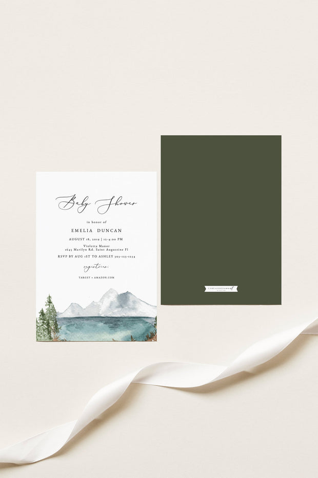 CLOVER | Mountain Lake Baby Shower Invitation 3 Piece Template Suite