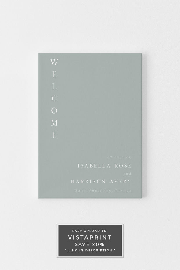 NINA | Minimalist Sage Green Bohemian Printable Wedding Welcome Sign Template