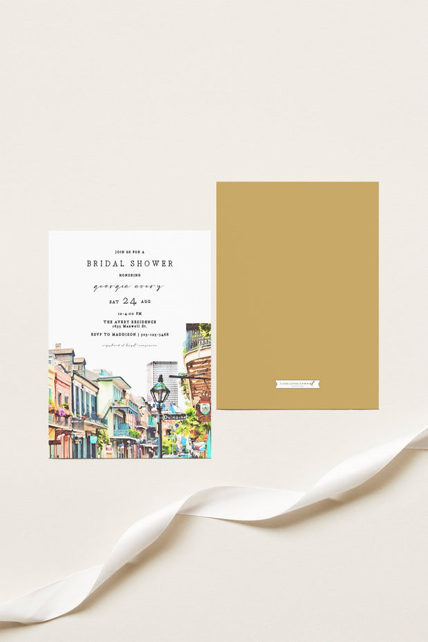 NOLA | Watercolor New Orleans French Quarter Bridal Shower Invitation Template