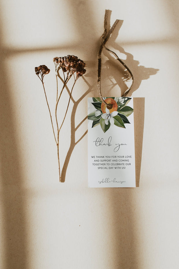 CALLIOPE | Watercolor Orange Blossom Printable Favor Tag Template
