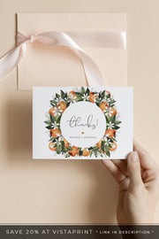 CALLIOPE | Watercolor Orange Blossom Printable Thank You Card Template