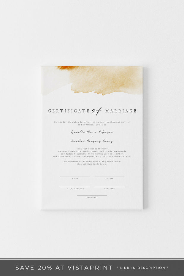 NOLA | Yellow Watercolor Splash Printable Wedding Marriage Certificate Template