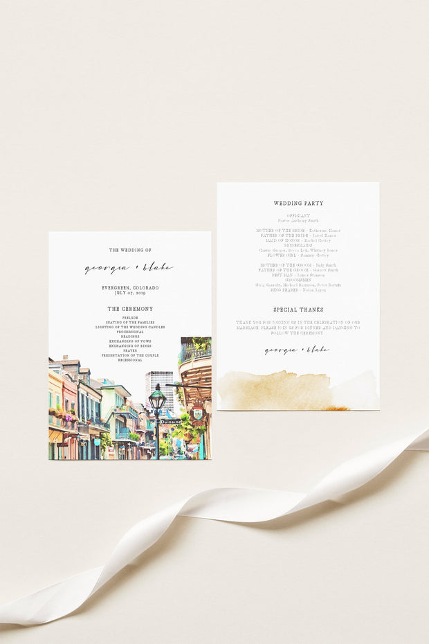 NOLA | Watercolor New Orleans French Quarter Printable Wedding Program Template
