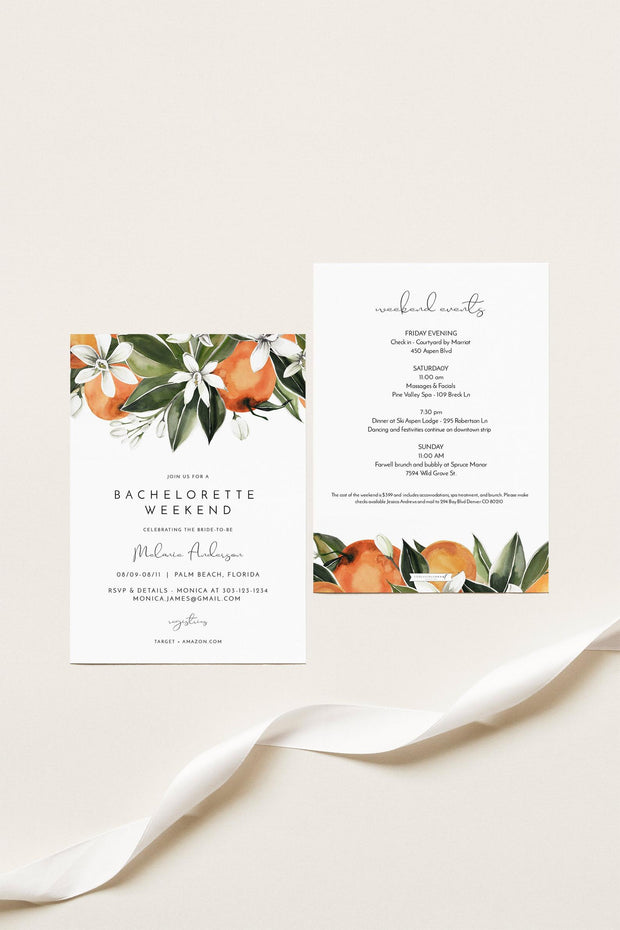 CALLIOPE | Watercolor Orange Blossom Bachelorette Invitation & Itinerary Template