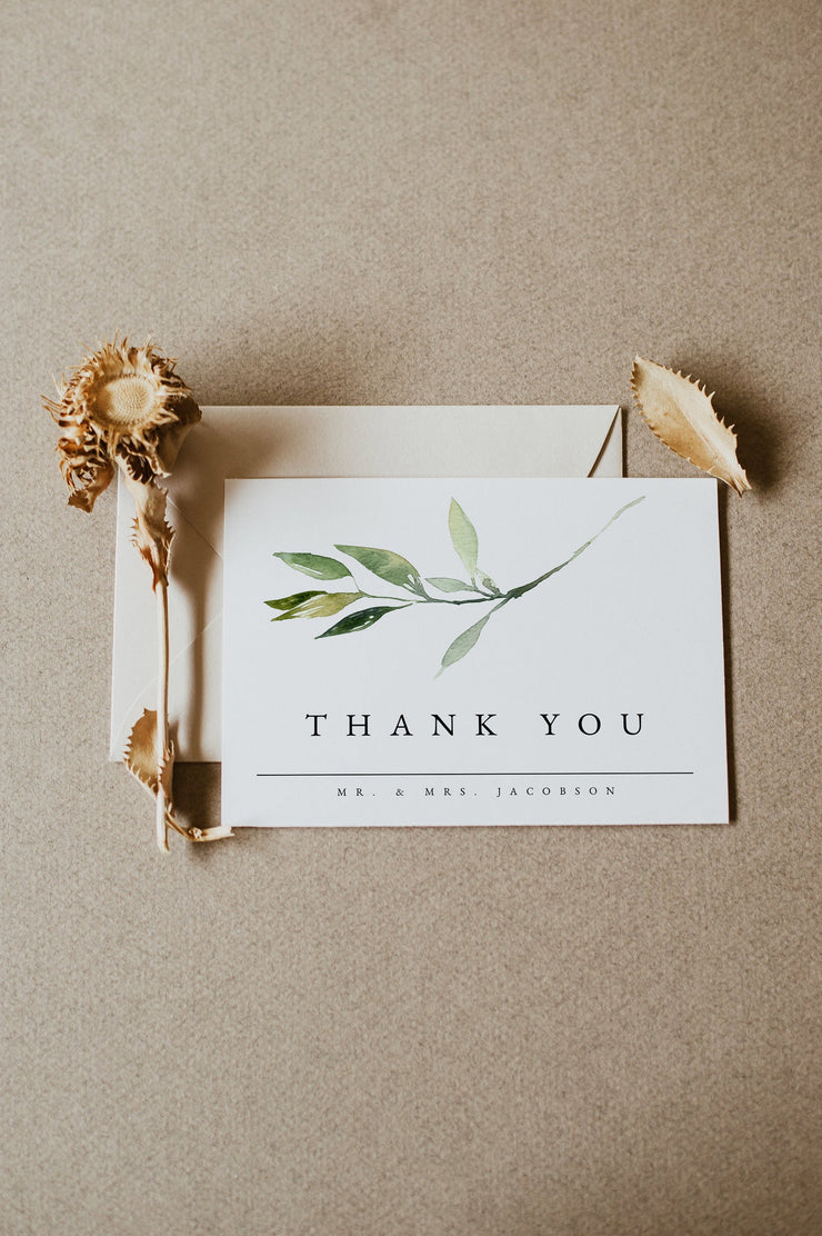 ISABELLA | Minimal Greenery Printable Thank You Card Template